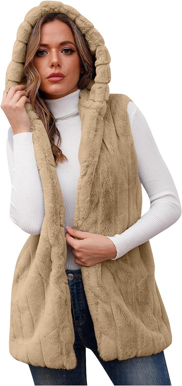 Womens Sherpa Fleece Hooded Waistcoat Outerwear Vest Open Front Sleeveless Faux Fur Furry Fall Winter Warm Coat