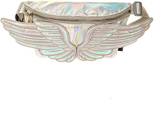 Fydelity Fanny Pack Belt Sling Bag Angel Wings Silver Iridescent|Festival,Women