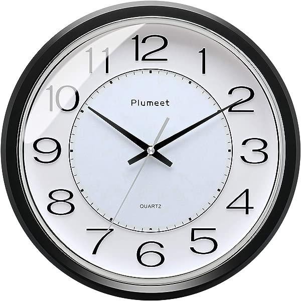 Plumeet 12 5 Modern Quartz Wall Clock Silent Non Ticking Clocks For Bedroom Battery Operated Round Black