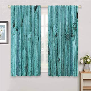 GUUVOR Turquoise Decor Blackout Curtain Set Wall of Turquoise Wooden Texture Background Antique Timber Furniture Artful Print Kindergarten Shading Insulation W63 x L84 Inch Teal