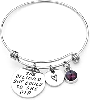 She Believed She Could So She Did Expandable Bangle Birthstone Charm Stainless Steel Cuff Bracelet