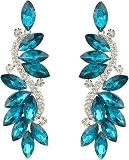 EVER FAITH Austrian Crystal Party Marquise Shape Leaf Pierced Dangle Earrings