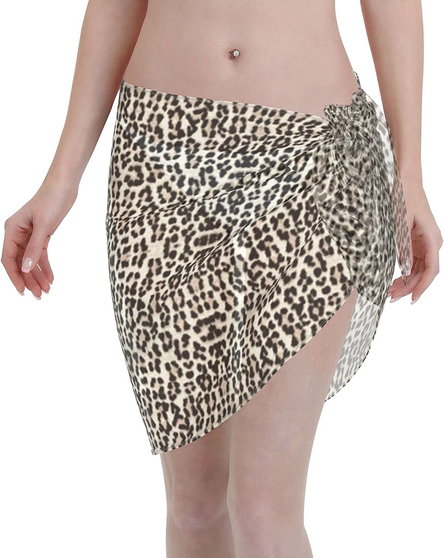 FSERSANHW Leopard Chiffon Beach Sarong Short Soldering Ups Bea Cover Women Now free shipping