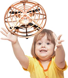 Veken Hand Operated Drones for Kids, Hands-Free Mini Drone Helicopter, Flying Ball Drone Toys for Boys and Girls (Gold)