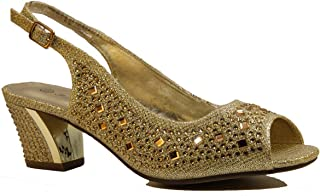 Bella Hanna Stylish & Comfort Women's Rhinestone and Gems Peep Toe Sling Back Rhinestone Low Heels Pumps