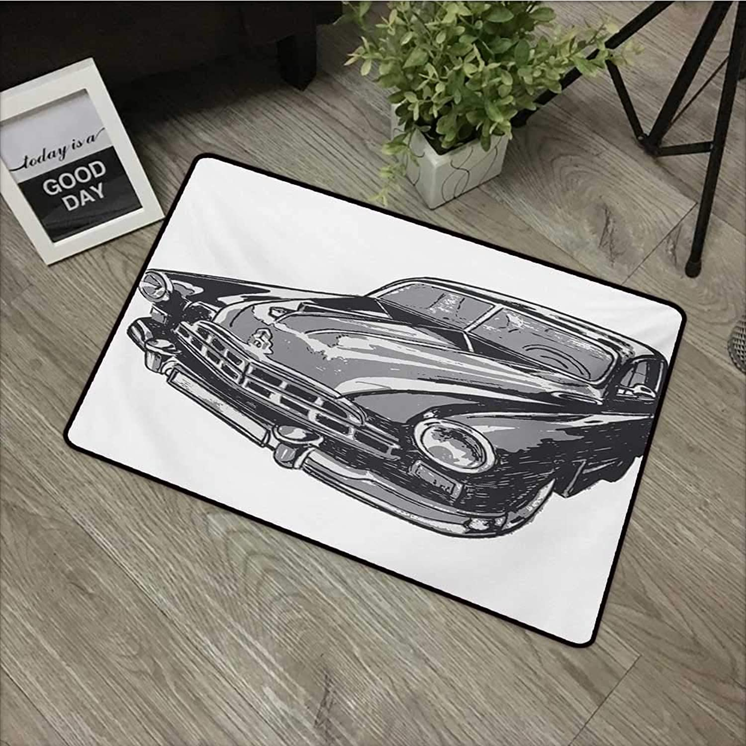 Interior mat W35 x L59 INCH Cars,Hand Drawn Vintage Vehicle with Detailed Front Part Hood Lamps Rear View Mirror,Grey bluee Grey with Non-Slip Backing Door Mat Carpet