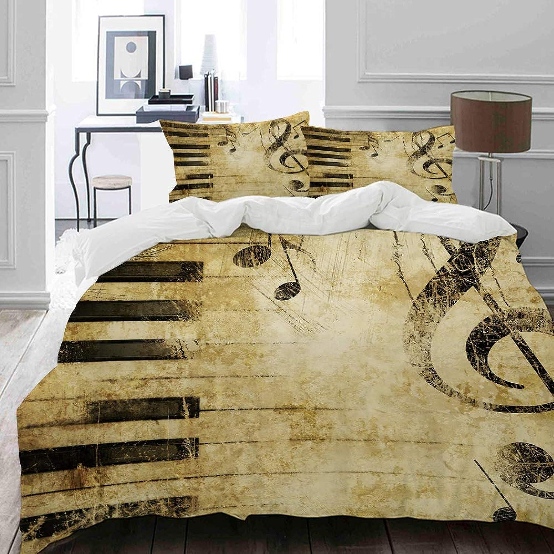 MIGAGA Parure de lit Adulte,Housse de Couette,Imprimer Note et clés de Pianos dans Le Papier,1 Housse de Couette 200 x 200cm + 2 Taies d'Oreillers 50  75 CM