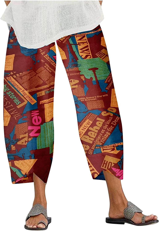 FFFG Pants for Women's, Casual Soft Cotton Linen Printed Pant Summer Loose Wide Leg Jeans Elastic Waist Trousers