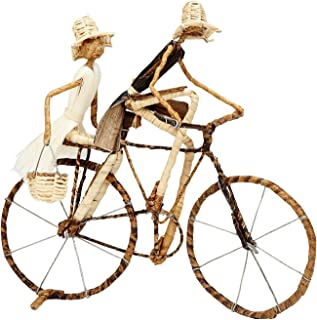 Ten Thousand Villages Wire and Banana Fiber Figures on Bicycle 'Ride to Market Sculpture'