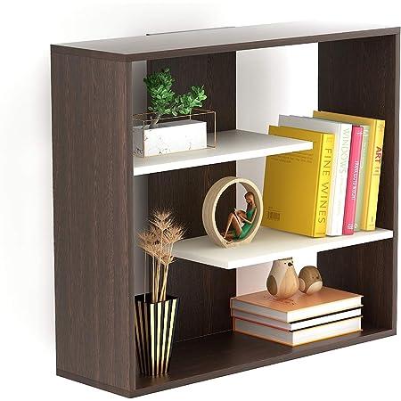 Bluewud Maxelle Wall Mounted Small Bookshelf (Frosty White & Wenge)