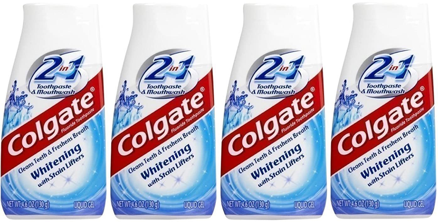 不純欠伸ブレンドColgate 2-IN-1ホワイトニングで染色リフター歯磨き粉4.60オンス(4パック)