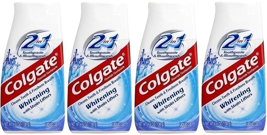 修正大使ライバルColgate 2-IN-1ホワイトニングで染色リフター歯磨き粉4.60オンス(4パック)