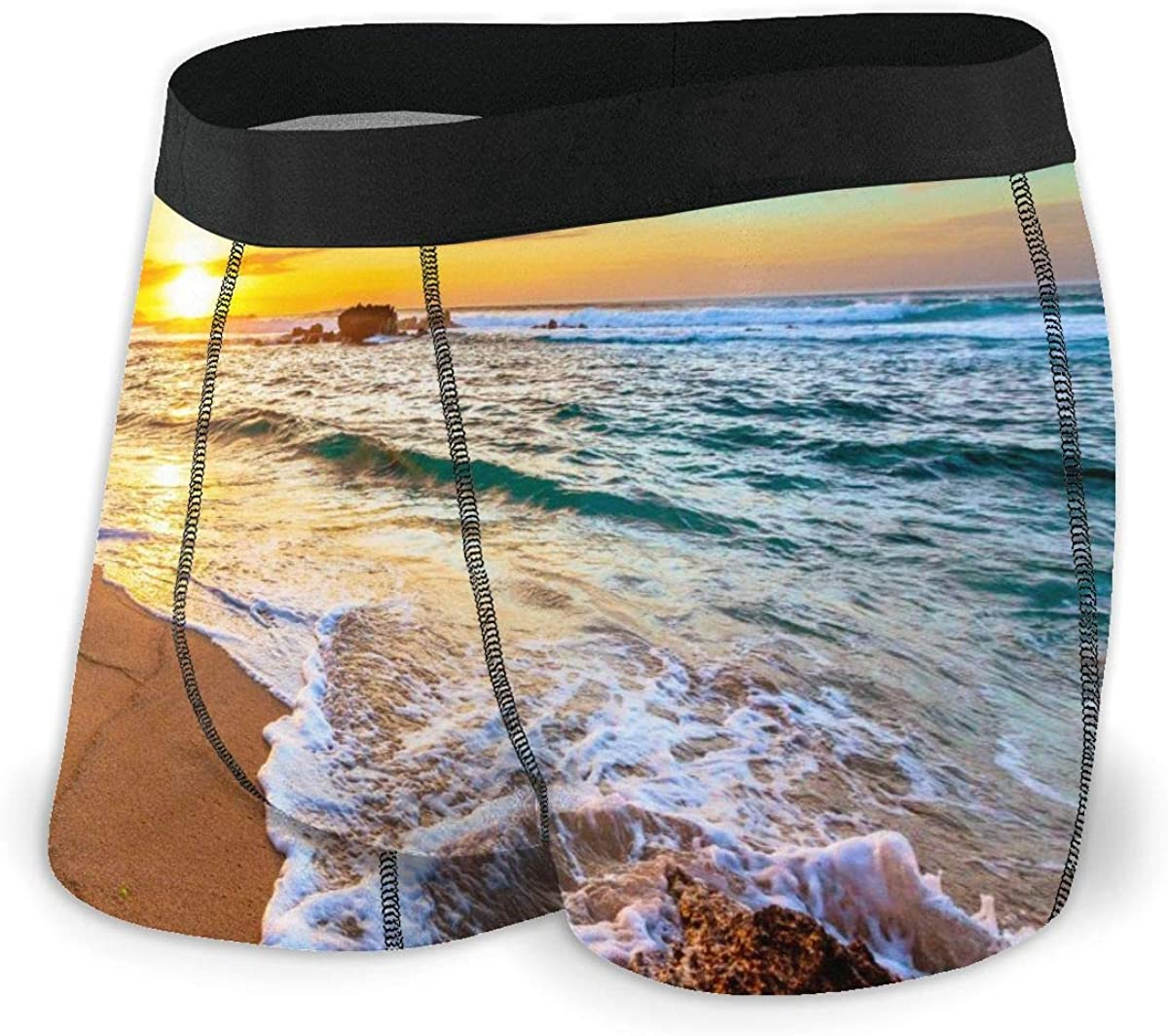 Mens Boxer Briefs Vector Oahu Hawaii Sunset Breathable Underwear