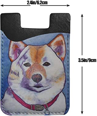 Akita Inu Art Painting Dog PU Leather Business Id Card Package RFID Credit Card Holder Clip Sleeve Wallet for Vehicle Car Lug
