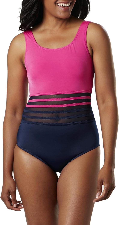 Jaclyn Smith Women's Plus Size 1-Piece Colorblock Swim Suit