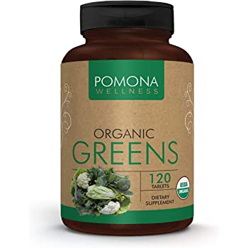 POMONA WELLNESS Organic Greens Superfood Supplement, Full of Vitamins & Minerals, Fruits & Vegetables Vitamin, Gluten-free, Non-GMO, Vegan, Bottle of 120 Tablets