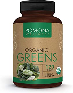 POMONA WELLNESS Organic Greens Superfood Supplement, Full of Vitamins & Minerals, Fruits & Vegetables Vitamin, Gluten-fre...