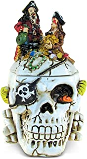 Puzzled Caribbean Pirate Skull Jewelry Box, Intricate & Meticulous Head Sculpture Figurine for Collectible Trinket Accesso...