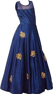 a62c318281 Angel Fashion Designer Cute Dark Blue Kids Girls Readymade Gown with Patch  Work