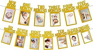 Whaline 1st Birthday Baby Photo Banner for Newborn to 12 Months, Monthly Milestone..