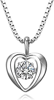 T400 925 Sterling Silver Dancing Diamond Stone White Heart Pendant Necklace Cubic Zirconia from Swarovski Wedding Gift for Women