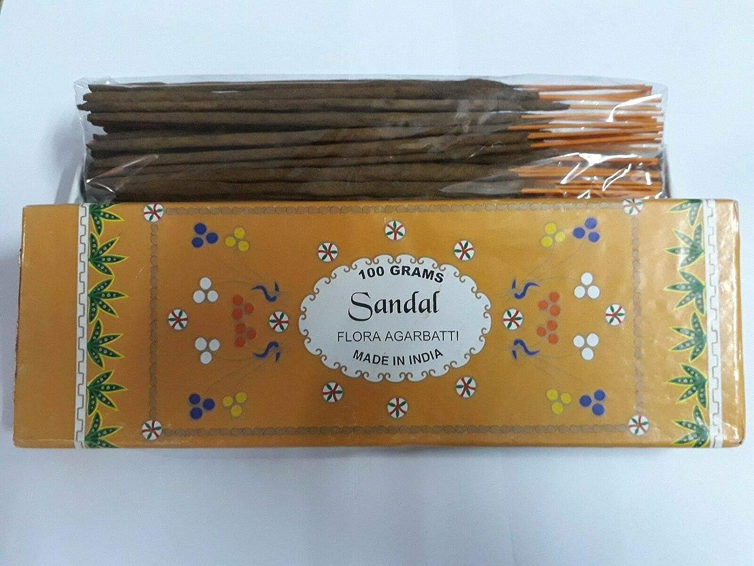 爵真珠のような抑止するSandal (Chandan) サンダル Agarbatti Incense Sticks 線香 100 grams Flora Incense Agarbatti フローラ線香