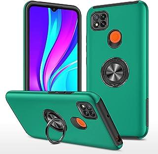 携帯電話保護ケース for Xiaomi Redmi 9C PC + TPU耐衝撃磁気保護ケースの目に見えないリングホルダー 携帯電話シェル