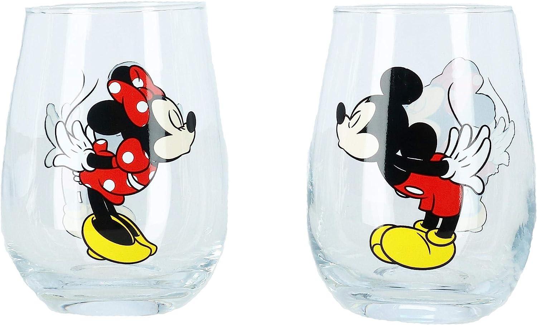 Disney Mickey y Minnie Kissing 14,5 oz copa de vino Conjunto De 2 para Unisex-adulto Un tamaño Transparente