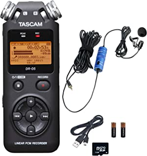 Tascam DR-05 Portable Handheld Digital Audio Recorder Bundle with Movo Lavalier Clip-on Omnidirectional Condenser Microphone (Version 2)