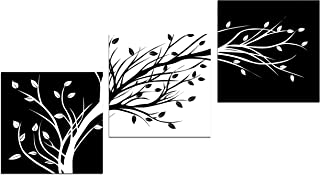 Wieco Art Leaves Modern 3 Panels Flowers Artwork Giclee Canvas Prints Black and White Abstract Floral Trees Pictures Paint...