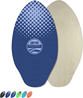 BPS 'Gator' Skimboards with Colored EVA Grip Pad and High Gloss Clear Coat | Wooden Skim Board with Grip Pads for Kids and Adults | Choose from 3 Sizes and Traction Pad Color