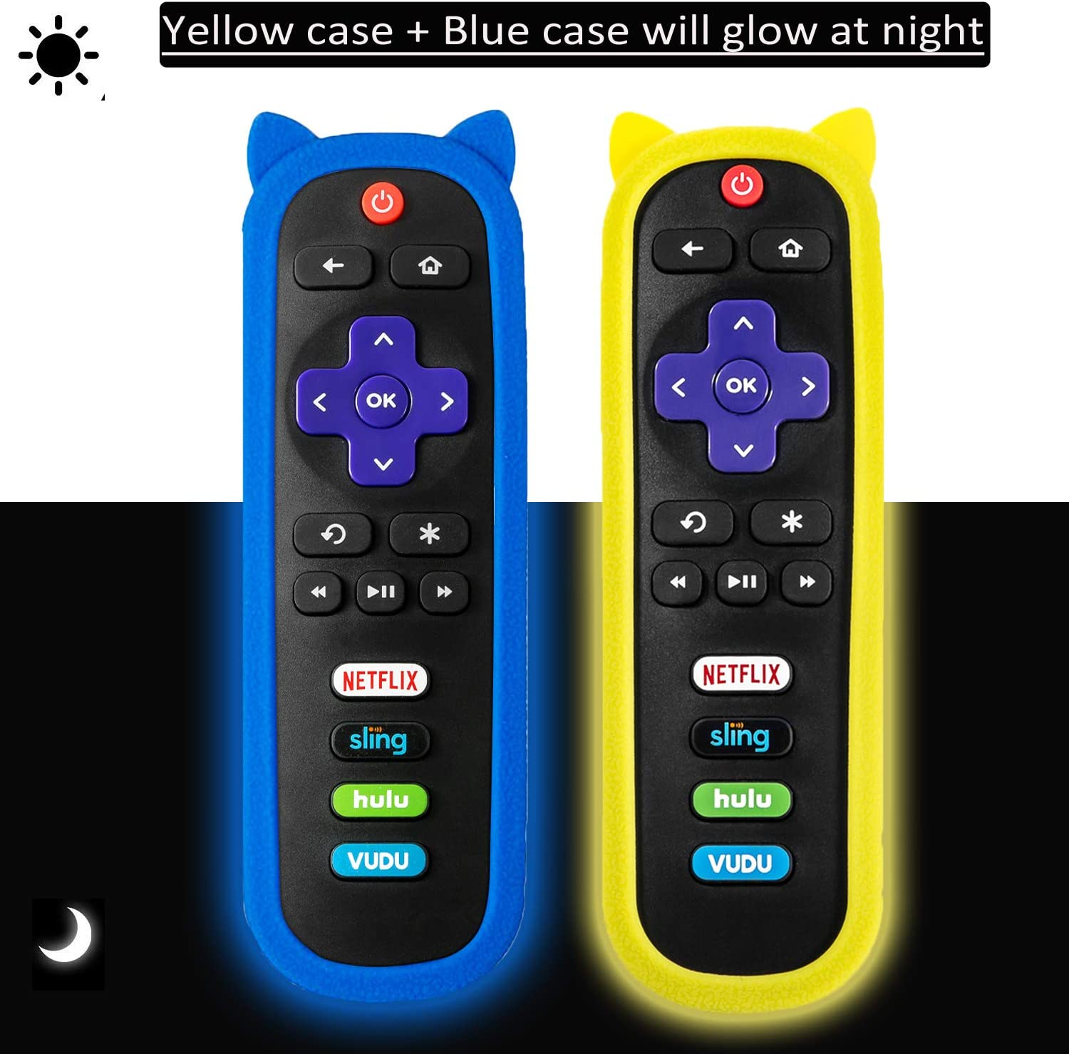(2 Pack) Universal Protective Remote Case/Cover for Roku Streaming Stick 3600R /TCL/ONN/Sharp/Insignia/Hisense/Toshiba/LG/Hitachi Roku TV Remote, Shock Proof Silicone Remote Control Cover - Glow Case