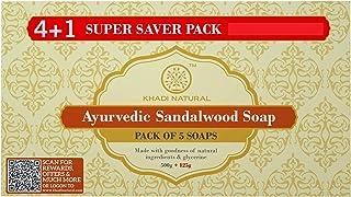 KHADI NATURAL Ayurvedic Sandalwood Soap Super Saver Pack 4+1, 125 g (Pack of 5)