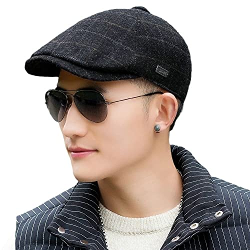 8e781e5e087 SIGGI Mens Winter Wool Newsboy Cap Adjustable Cold Weather Flat Cap Soft  Lined