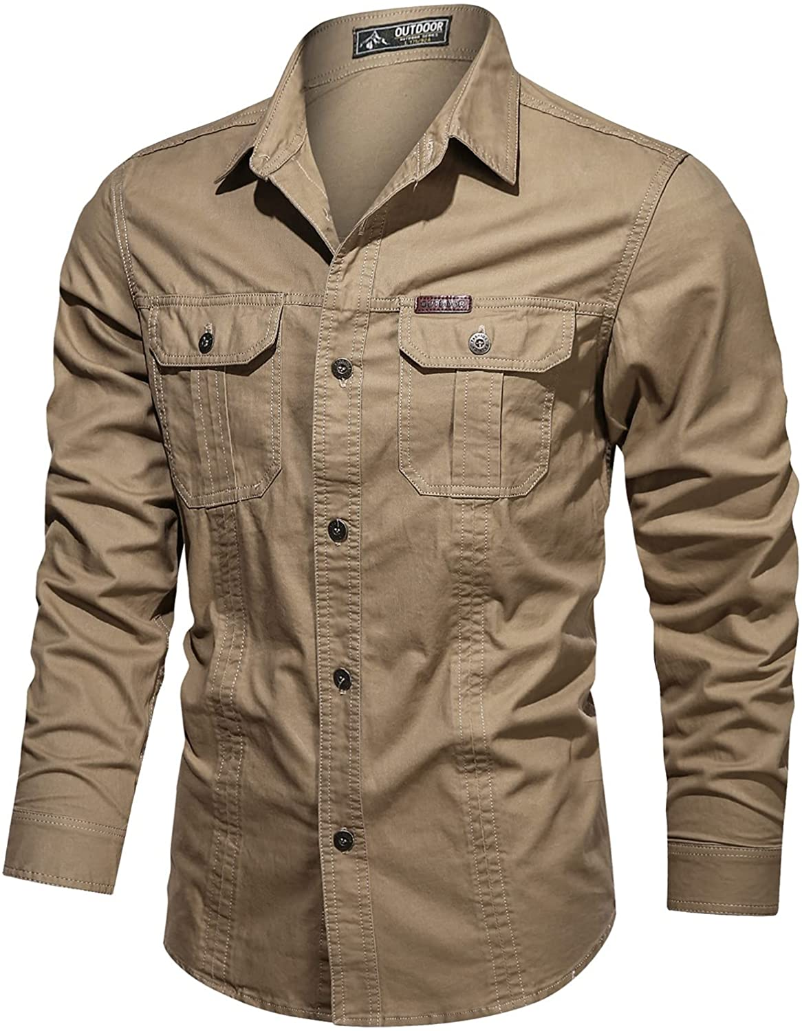 Huangse Men's Long Sleeve Work Shirt Breathable Quick Dry UV Protection Solid Button Down Fishing Shirt Fashion Bomber Shirt