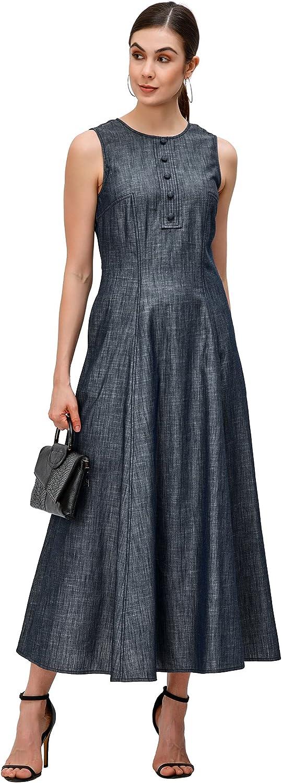 eShakti Bombing new work Max 57% OFF Women's Princess Seamed Dress Chambray Cotton A-line