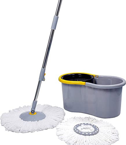 Esquire Elegant GREY 360 Spin Mop Set with Easy Wheels and Additional Refill