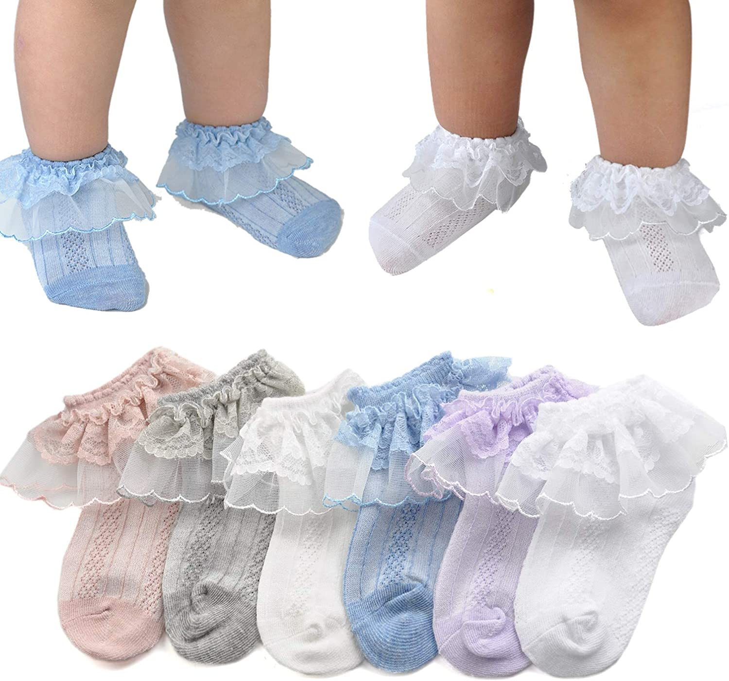 Epeius Little Girls' Princess Lace Top Dressy Socks (Pack of 3/6)