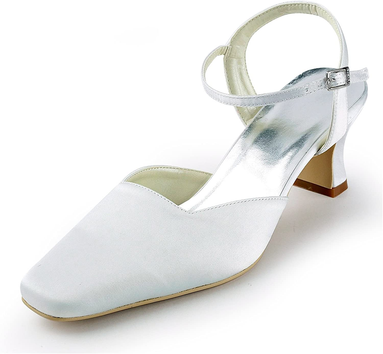 Zioso TMZ382 Women's Square Toe Satin Bridal Wedding Evening Formal Party Pumps shoes
