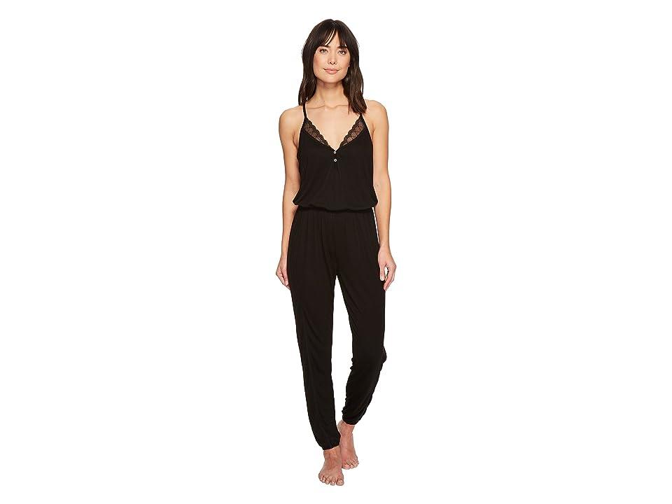 Splendid Always Long Lace Back Pajama Romper (Black) Women