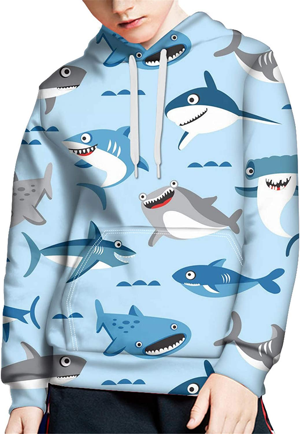 ZFRXIGN Kids Girls Hoodies and Sweaters Shark Print Pullover Tops 8-10 Years Sweatshirt Tops with Drawstring Hooded Outfits Lightweight Tops Medium, Light Blue