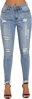 Women's Ripped Mid Rise Frayed Hem Denim Stretchy Skinny Jeans