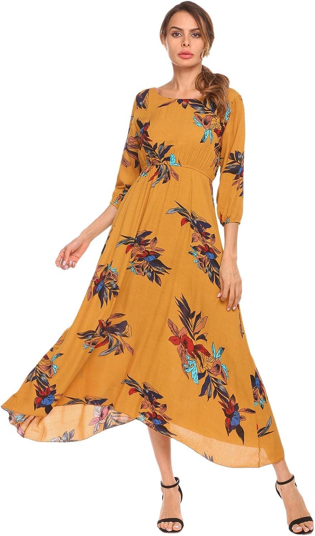 BEAUTYTALK Women's Floral Print 3 4 Sleeve O Neck High Waist Button Casual Long Maxi Dress