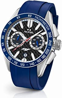 TW Steel Men's 'Grandeur Sport' Quartz Stainless Steel and Silicone Dress Watch, Color:Blue (Model: GS3)