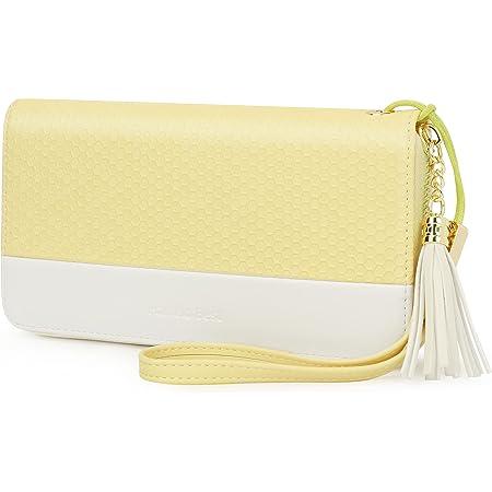 Pomelo Best Damen Geldbeutel Groß lang Portmonee mit Handyfach, Handschlaufe RFID-Blocker Geldbörse für Frauen (Gelb)