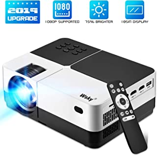 Wsky 2019 Newest LCD LED Outdoor Portable Home Theater Video Projector, Support HD 1080P Best for Outdoor Movie Night, Family, Compatible with Phone, PS4, HDMI, USB