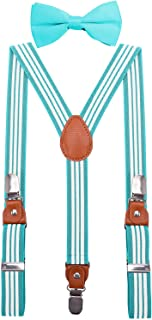 BODY STRENTH Boys' Suspenders and Bow Tie with Pu Leather Elastic Y Shape