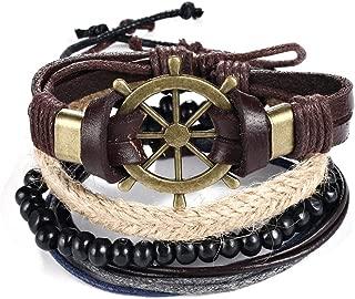 liujun Multilayer Vintage Leather Wrap Wristband for Men Women Simple Black Beads Bracelet Brown Black White Leather Braided Bracelet Bangle Set 4 Pcs