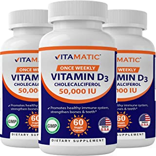 3 Pack -Vitamatic Vitamin D3 50,000 IU (as Cholecalciferol), Once Weekly Dose, 1250 mcg, 60 Veggie Capsules 1 Year Supply,...