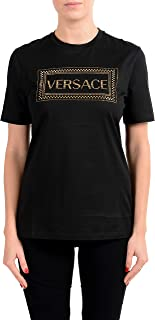 Versace Women's Black 90'S Vintage Logo Embroidered Top T-Shirt US 2XS IT 36